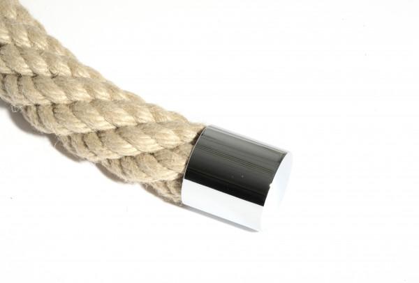 Handlaufseil Kunstfaser, naturfarben mit verchromten Beschlägen für aussen oder innen